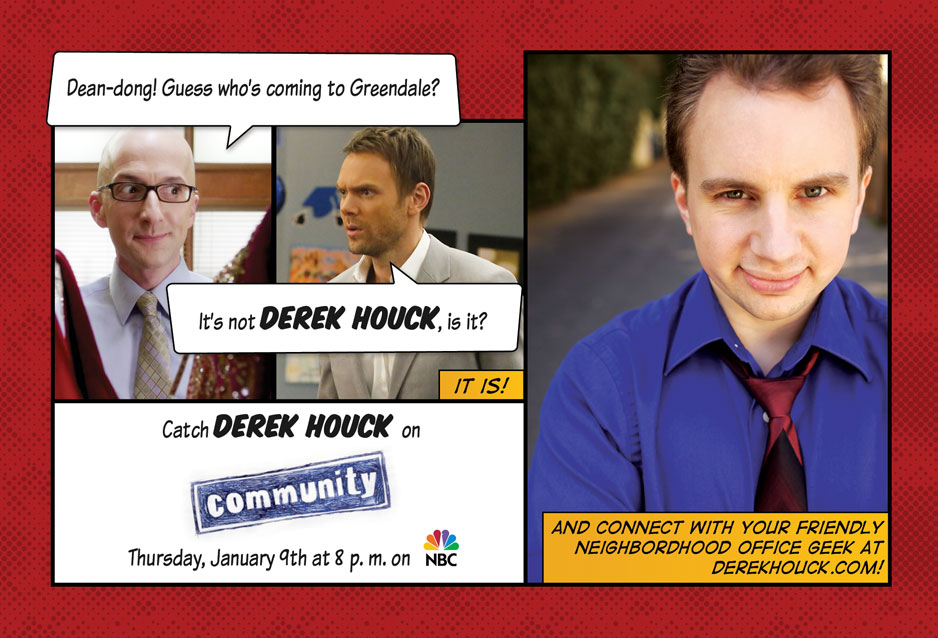 Catch Derek Houck on Community, Thursday, January 9th at 8 p.m. on NBC